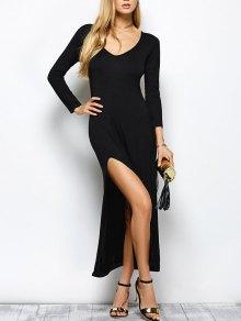Plunge Neck Long Sleeve Maxi Dress With Slit - Black S