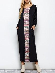 Batwing Sleeve Tribal Print Maxi Dress with Pocket