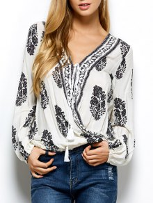 Retro Print Long Sleeve Wrap Peasant Blouse - White M