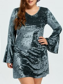 Belled Sleeve Plus Size Velvet Dress