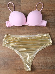 Underwire Bikini Top and Metallic Bottoms