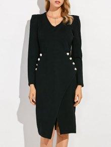 V Neck Long Sleeve Front Furcal Work Dress - Black S