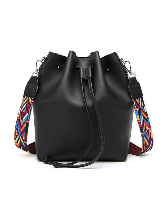 Drawstring Bucket Bag With Coin Purse - BLACK  Mobile