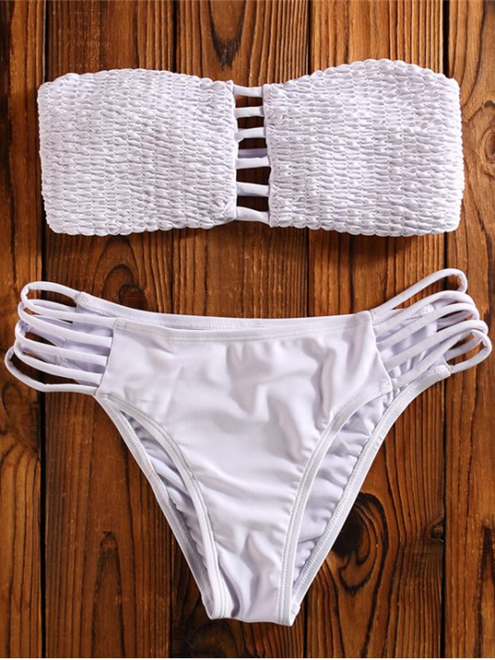 Cut Out Tube Bikini Swimwear - WHITE L Mobile