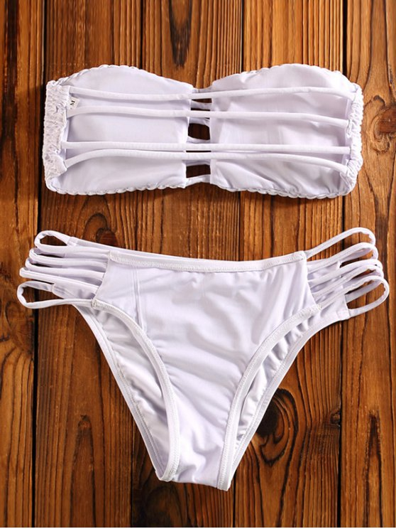 Cut Out Tube Bikini Swimwear - WHITE M Mobile
