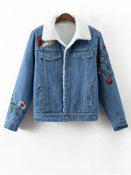 Faux Shearling Floral Embroidered Jean Coat - DENIM BLUE L Mobile