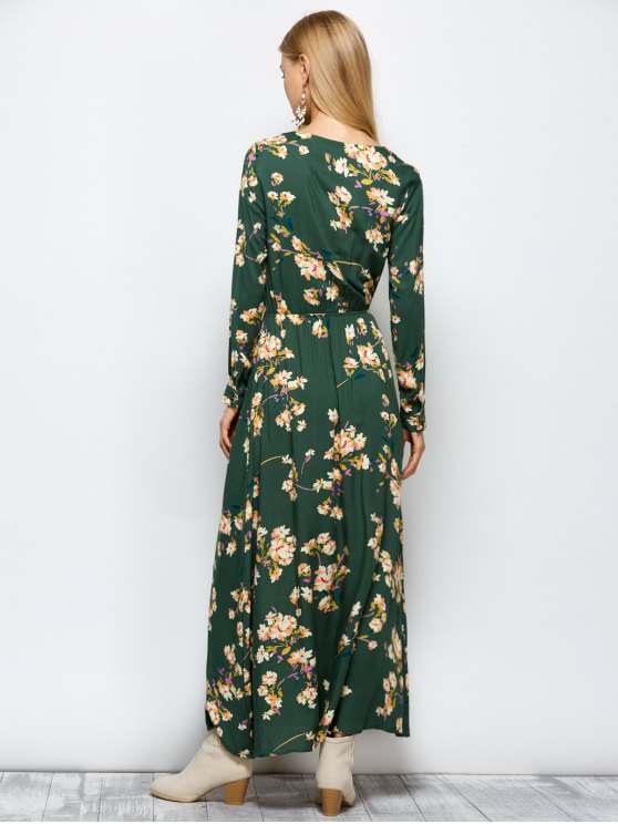 Long Sleeves Maxi Floral Dress - GREEN M Mobile