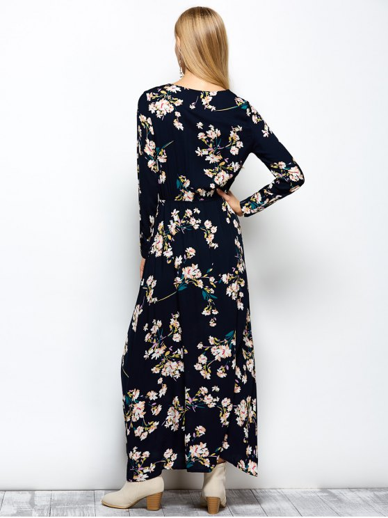 Long Sleeves Maxi Floral Dress - CADETBLUE S Mobile