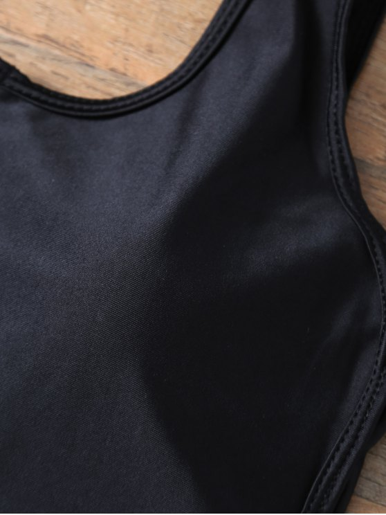 Backless Zipper Front Swimsuit - BLACK M Mobile