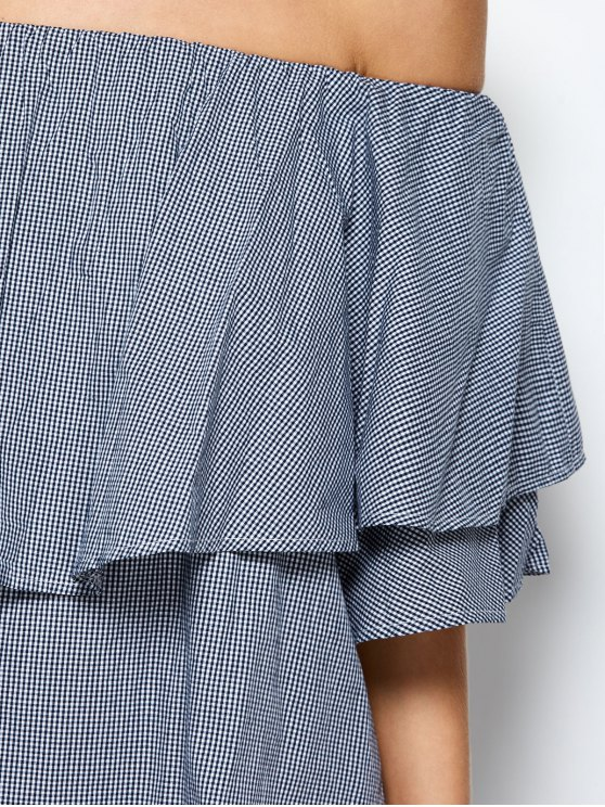 Checked Off The Shoulder Ruffle Dress - BLUE AND WHITE L Mobile
