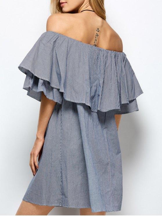 A cuadros del hombro vestido de la colmena - Azul y Blanco M