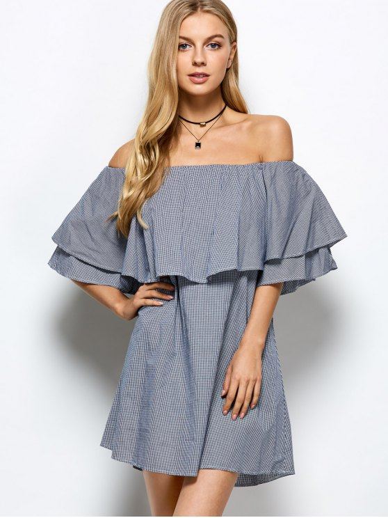 Checked Off The Shoulder Ruffle Dress - BLUE AND WHITE S Mobile