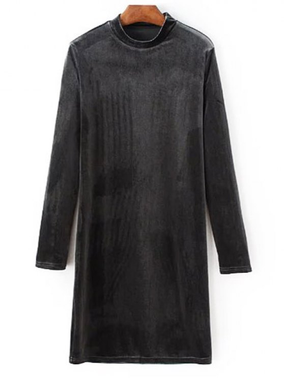 Mock Neck Long Sleeves Velvet Dress - GRAY L Mobile