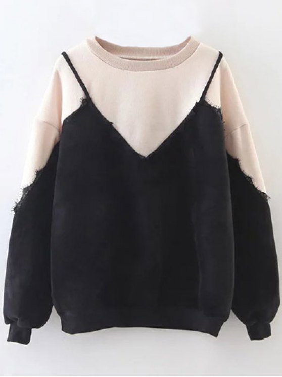 Cami Panel Crew Neck Sweatshirt - NUDE ONE SIZE Mobile