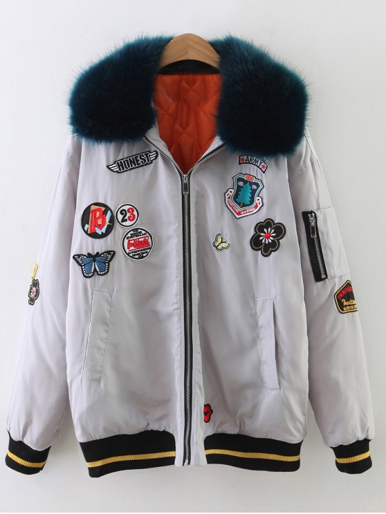 Patch Design Fur Collar Padded Bomber Jacket - GRAY L Mobile