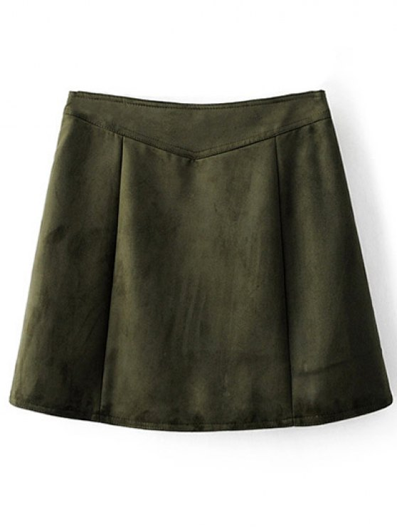 Zippered Suede Mini Skirt - ARMY GREEN S Mobile