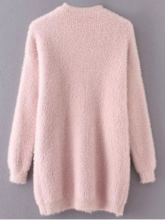 Slit Mock Neck Fuzzy Sweater - PINK ONE SIZE Mobile