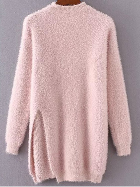 unique Slit Mock Neck Fuzzy Sweater - PINK ONE SIZE