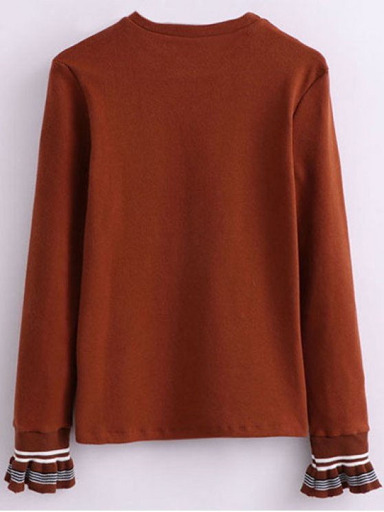 Ruffled Sleeve Crew Neck Knitwear - DARK AUBURN ONE SIZE Mobile