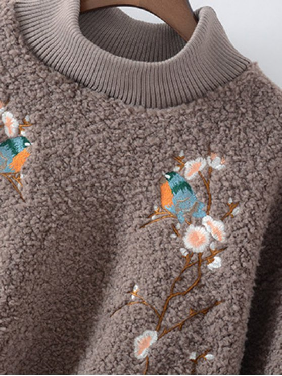 Floral Embroidered Sherpa Sweatshirt - GREEN ONE SIZE Mobile