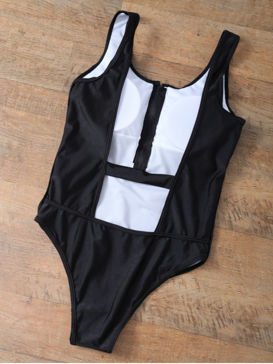Backless Zipper Front Swimsuit - BLACK L Mobile