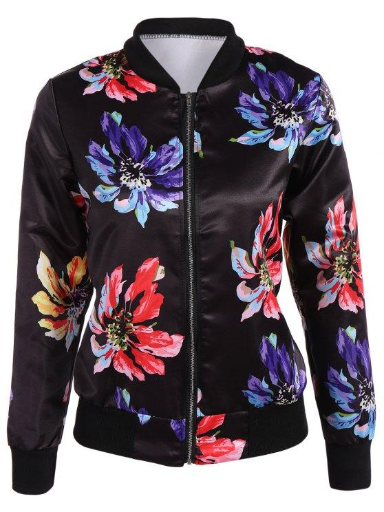 Zippered Floral Bomber Jacket - BLACK XL Mobile