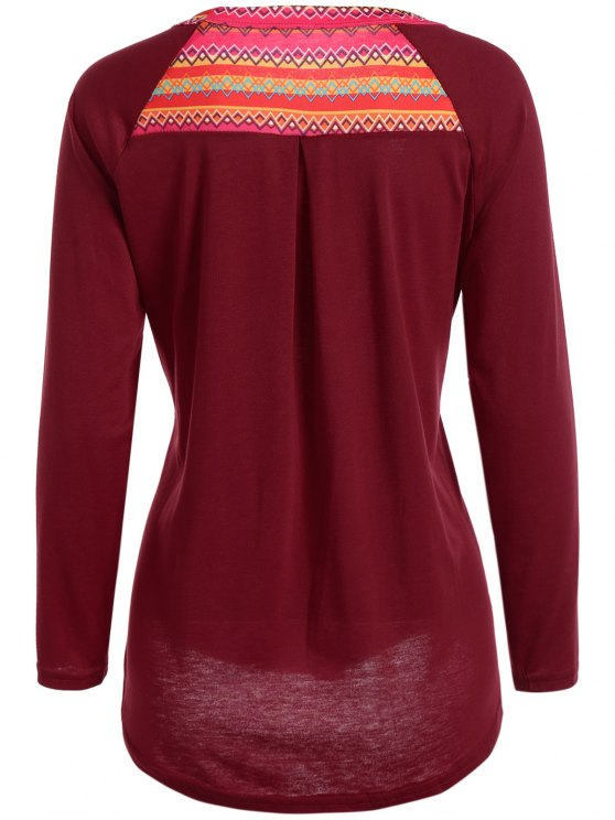 Pocket Round Neck Printed Tunic T-Shirt - RED S Mobile