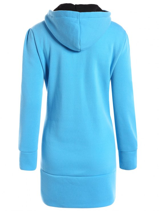 High Neck Drawstring Hoodie - BLUE L Mobile
