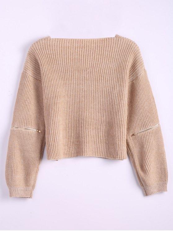 Zipper Cutout V Neck Sweater - KHAKI ONE SIZE Mobile