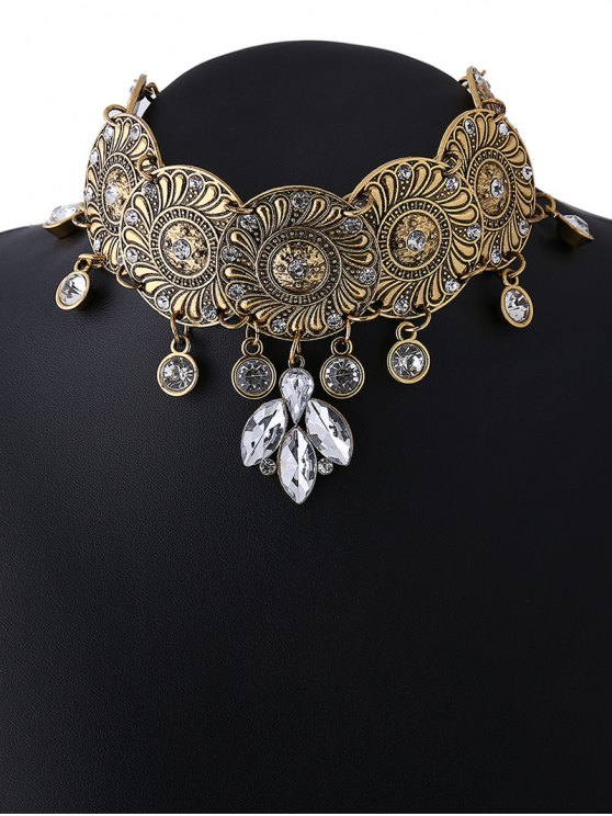 Faux Crystal Flower Choker Necklace - GOLDEN  Mobile