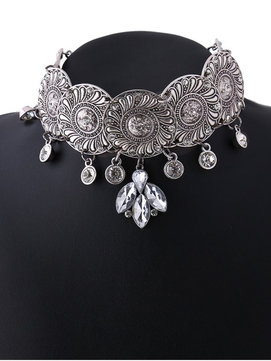 Faux Crystal Flower Choker Necklace - SILVER  Mobile
