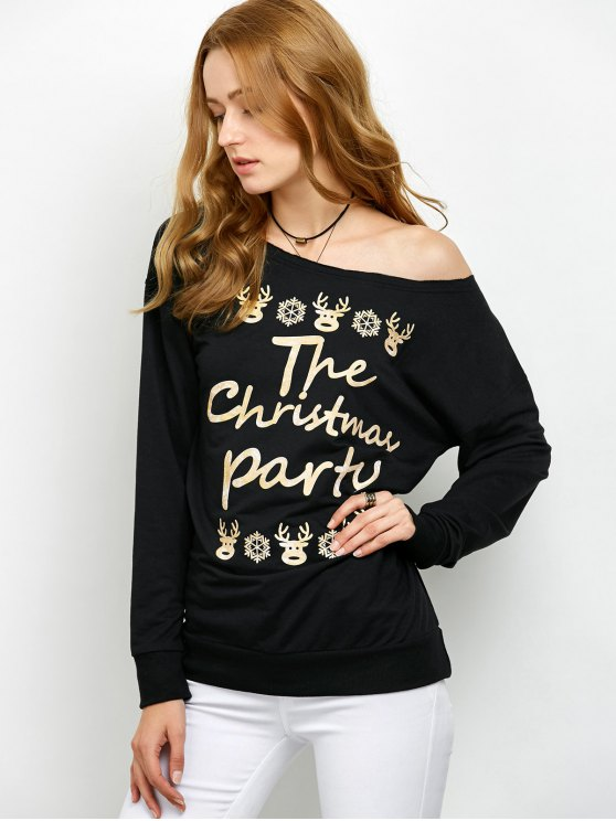 Elk Print Skew Neck Christmas Sweatshirt - BLACK L Mobile