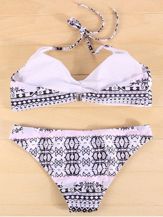 Tribal Print Halter Ruched Bikini - COLORMIX S Mobile