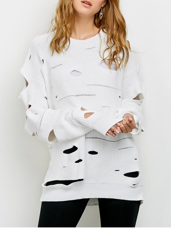 Cut Out Crew Neck Sweater - WHITE 2XL Mobile