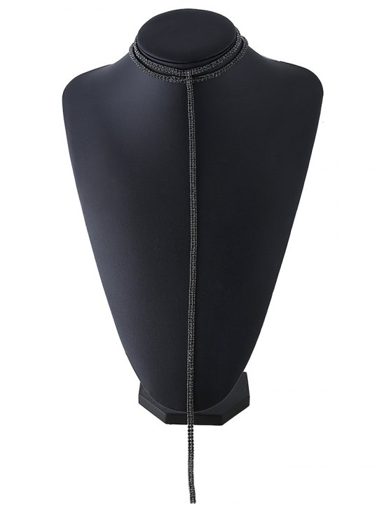 Tassel Fake Crystal Choker Necklace - BLACK  Mobile