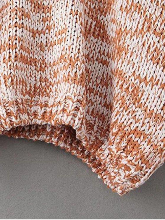 Batwing Sleeve Heathered Mock Neck Sweater - KHAKI ONE SIZE Mobile