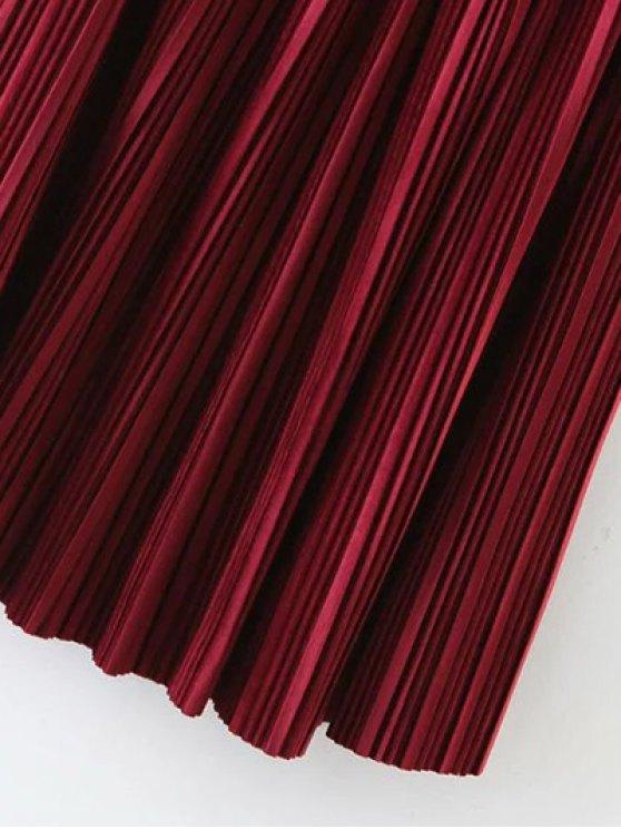 Pleated Velvet Maxi A Line Skirt - BLACK M Mobile