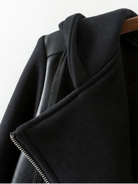 Hooded PU Leather Panel Jacket - BLACK L Mobile