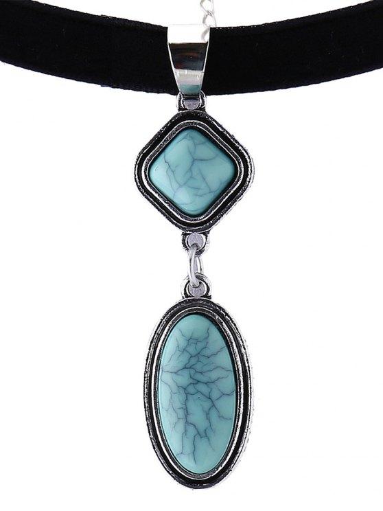 Geometry Fake Gemstone Velvet Choker Necklace - BLACK  Mobile