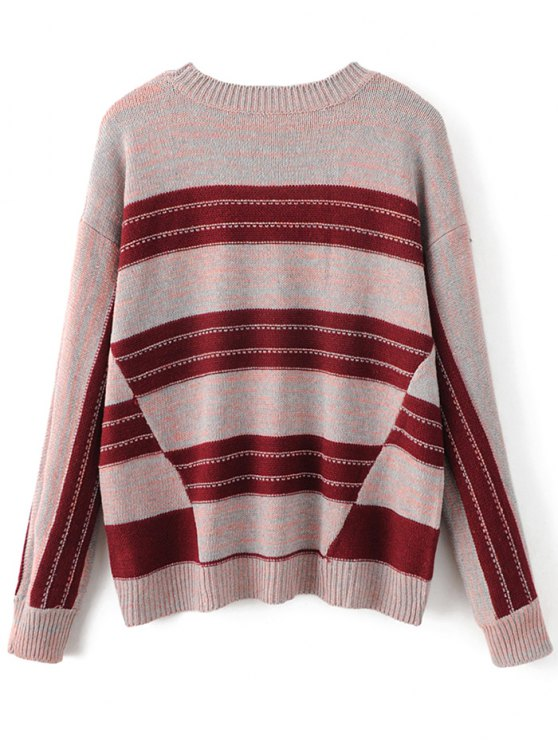 Graphic Oversized Sweater - RED ONE SIZE Mobile