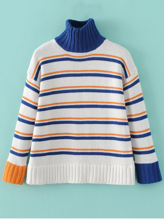 Turtleneck Stripe Chunky Sweater - WHITE ONE SIZE Mobile