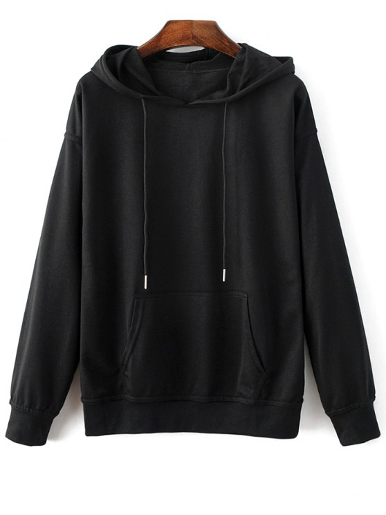 Casual Bat-Wing Sleeve Hoodie - BLACK L Mobile