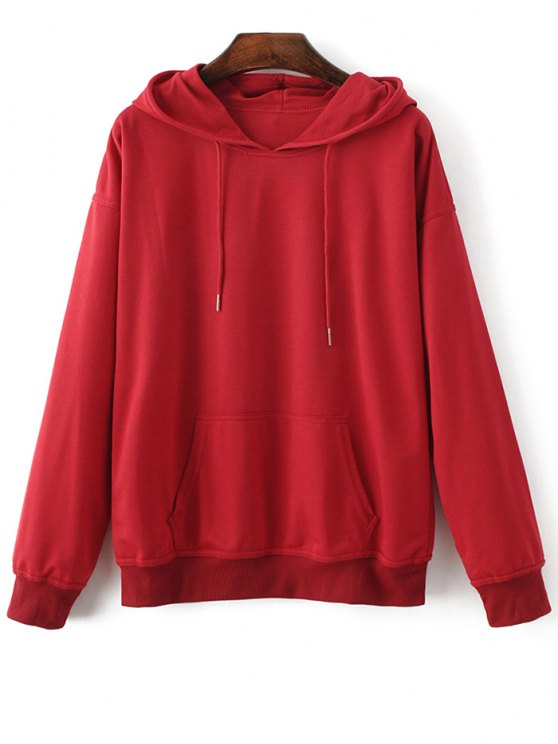 Casual Bat-Wing Sleeve Hoodie - RED M Mobile