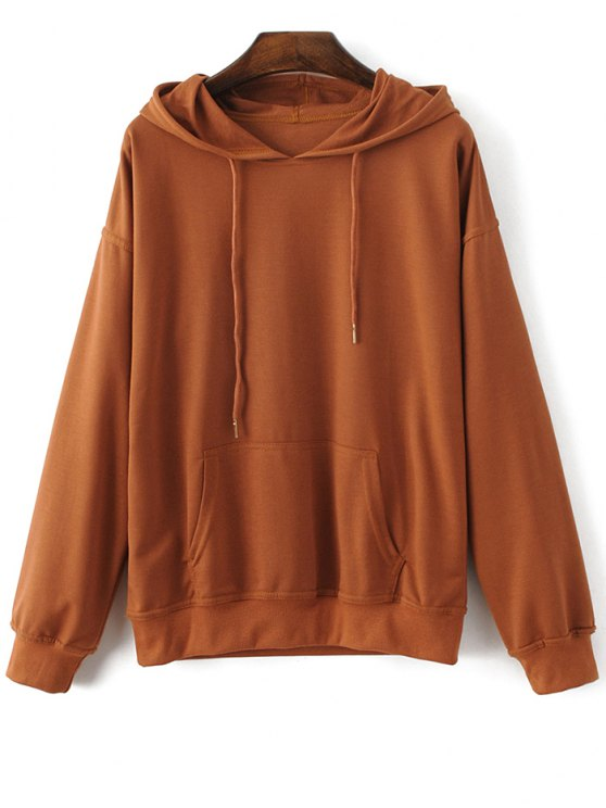 Casual Bat-Wing Sleeve Hoodie - BROWN XL Mobile