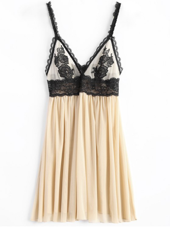 Lace Insert Floral Babysoll With Panty - NUDE S Mobile