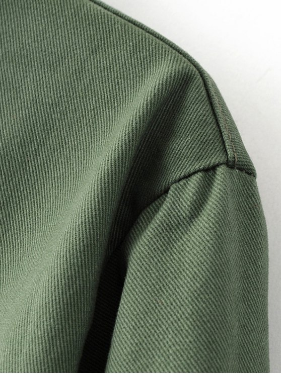 Chevron Shirt Jacket - GREEN L Mobile