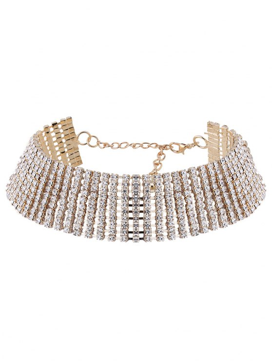 Hollowed Rhinestone Choker Necklace - GOLDEN  Mobile