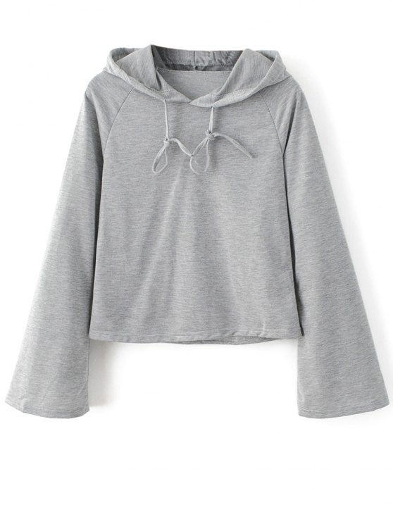 Casual Flare Sleeve Hoodie - GRAY S Mobile
