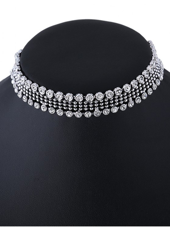 Faux Crystal Beads Choker Necklace - SILVER  Mobile
