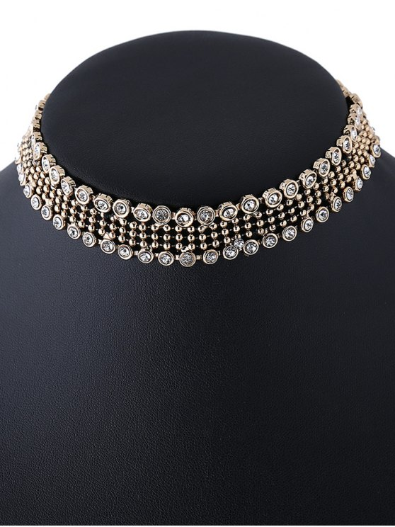 Faux Crystal Beads Choker Necklace - GOLDEN  Mobile